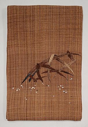 蛇籠刺繍しな布名古屋帯