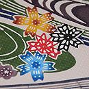 城間栄順作 流水に四季の花紅型染め名古屋帯 質感・風合