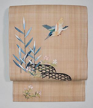 蛇籠にカワセミ 麻または絽の名古屋帯