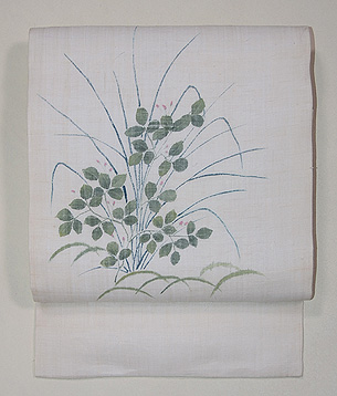 萩に芝の図麻名古屋帯