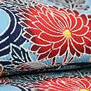 浦野理一作 薄藍色菊に流水文様名古屋帯 質感・風合