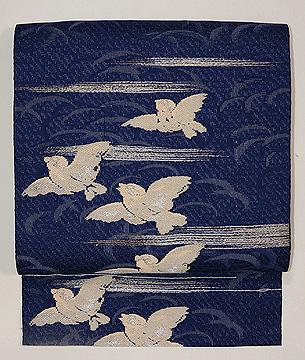 ふくら雀の図単衣帯