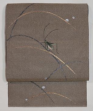 キリギリスの図刺繍単衣帯
