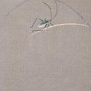 キリギリスの図刺繍単衣帯 前柄
