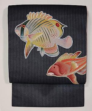 魚のパッチワーク刺繍名古屋帯