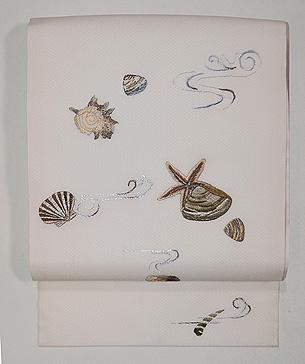 白地貝刺繍模紗名古屋帯