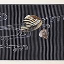 黒地貝刺繍絽名古屋帯 前柄