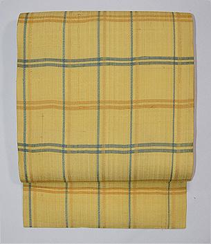 黄色地大格子の紬名古屋帯