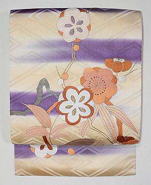 梅に竹の丸文様刺繍名古屋帯
