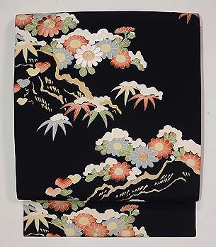 雪持ち菊の名古屋帯