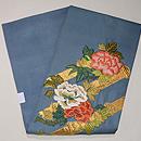 ブルー地牡丹の刺繍名古屋帯 帯裏