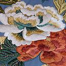 ブルー地牡丹の刺繍名古屋帯 質感・風合