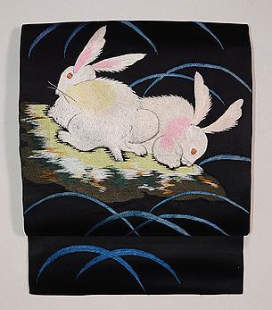 野うさぎの刺繍名古屋帯