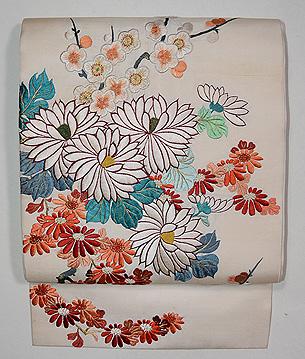 白地菊梅の刺繍名古屋帯