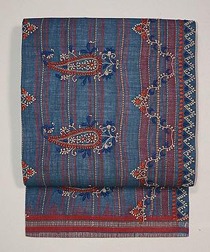 チカン刺繍木綿地ブルー名古屋帯