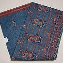 チカン刺繍木綿地ブルー名古屋帯 帯裏