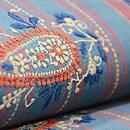 チカン刺繍木綿地ブルー名古屋帯 質感・風合