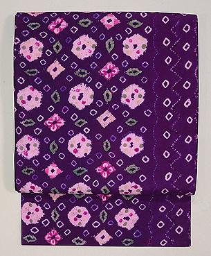 インドネシア絹絞り紫半巾帯