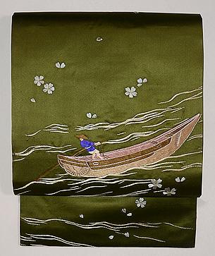 春の川面を漕ぐの図名古屋帯