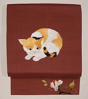 三毛猫の紬名古屋帯