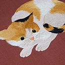 三毛猫の紬名古屋帯 質感・風合