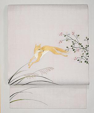 きつねの刺繍名古屋帯