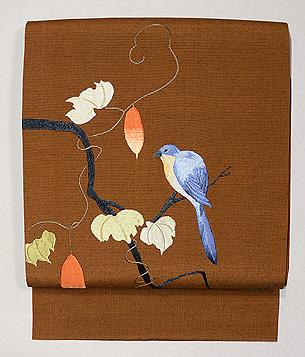カラスウリにルリ鳥の名古屋帯