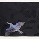 ウグイスに燕刺繍の名古屋帯 前柄