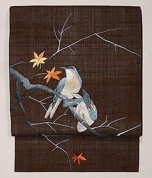 夫婦ツグミの刺繍名古屋帯