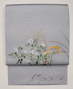 秋草に満月刺繍名古屋帯