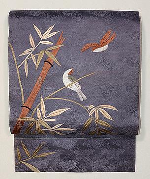 竹雀刺繍の名古屋帯