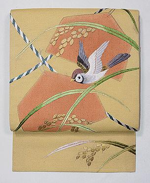 稲穂に雀刺繍名古屋帯