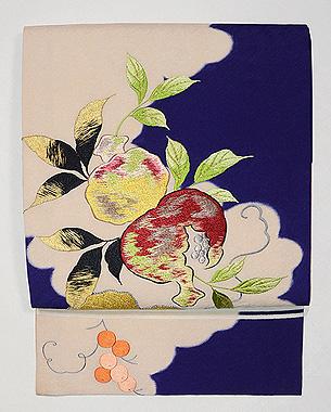 ざくろの刺繍名古屋帯