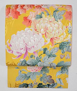 黄色大輪菊の名古屋帯