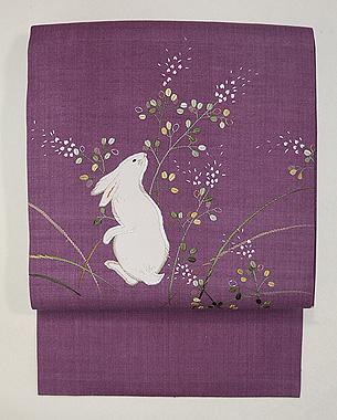 月見るうさぎの刺繍名古屋帯