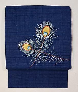 孔雀の羽根の刺繍名古屋帯