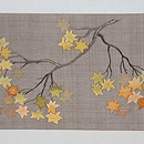 紅葉に鹿の刺繍名古屋帯 前柄