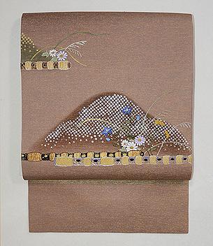 横笛の刺繍名古屋帯