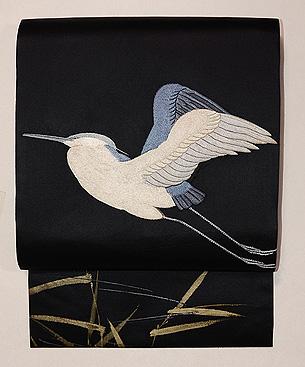 黒鷺の図刺繍帯