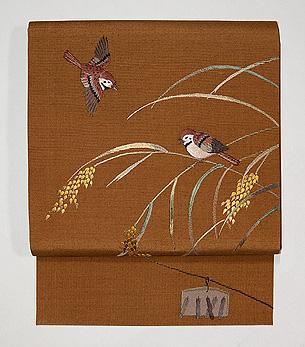 稲穂に雀の名古屋帯
