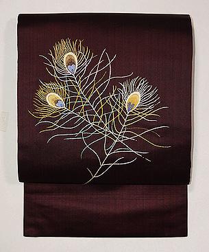小豆色孔雀の羽根文様名古屋帯