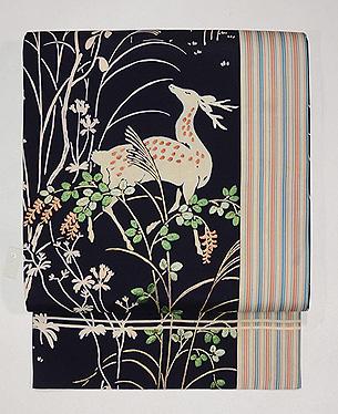 鹿の刺繍名古屋帯