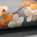 水浅葱色梅枝文様刺繍名古屋帯 質感・風合