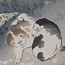 縮緬地しだれ桜に遊ぶむく犬の名古屋帯 質感・風合
