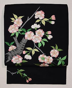 八重桜の刺繍名古屋帯