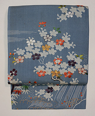 藍地山桜の図小袖くずし名古屋帯