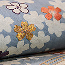 藍地山桜の図小袖くずし名古屋帯 質感・風合