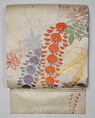 白地大輪藤の刺繍名古屋帯