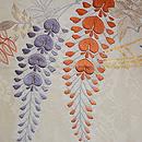 白地大輪藤の刺繍名古屋帯 前柄