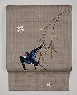 柳にツバメの刺繍名古屋帯